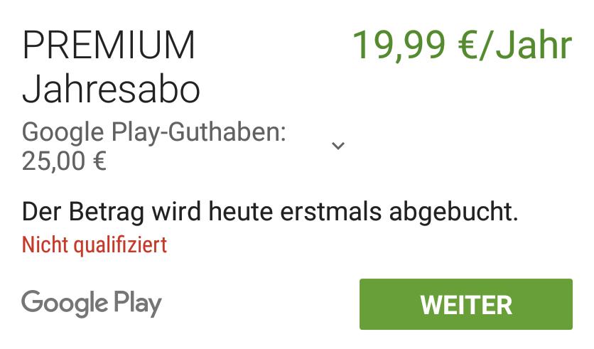 Google Play Guthaben Nicht Qualifiziert