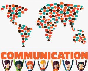 Kommunikation - Weltkarte aus Sprechblasen