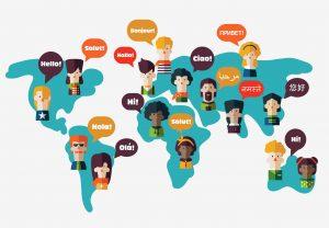 Weltkarte mit Sprechblasen