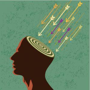 Illustration: Kopf mit Zielscheibe