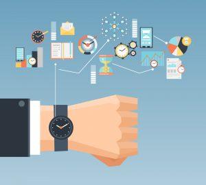 Illustration: Armbanduhr mit Terminsymbolen