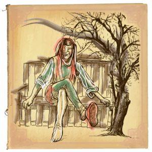 Eine handgemalte Illustration von Till Eulenspiegel
