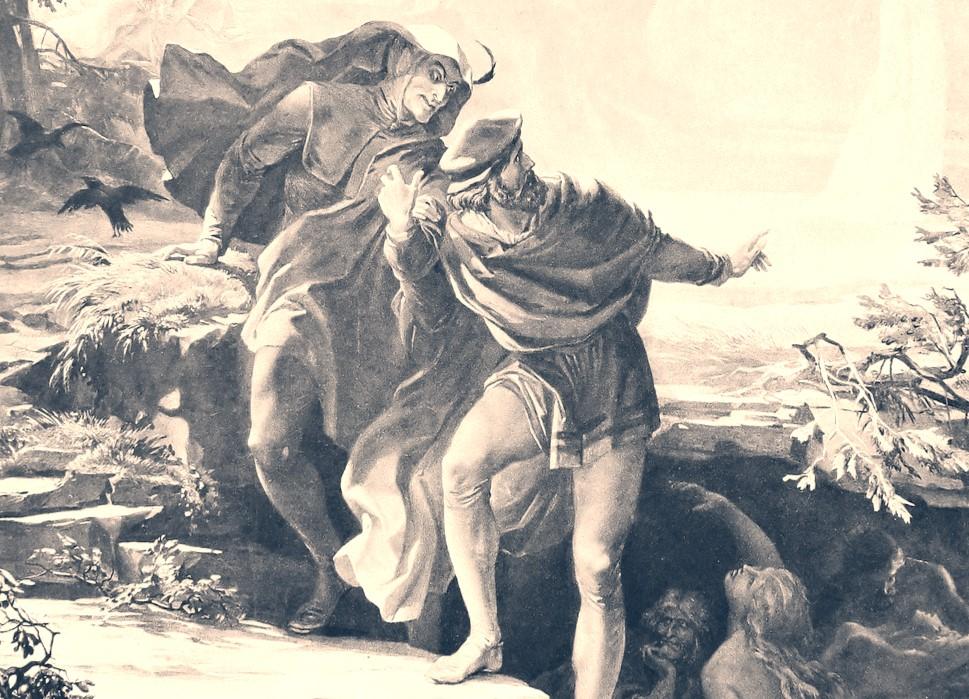 Eine klassische Illustration von August von Kreling (München, 1874). Zu sehen sind der Teufel Mephisto (links) und der Gelehrte Faust (rechts).